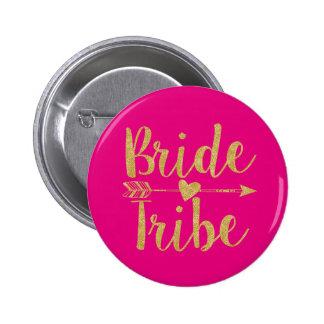 Bride Tribe   Glitter-Print Hot Pink Button