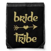 Bride Tribe Gold Glitter backpack