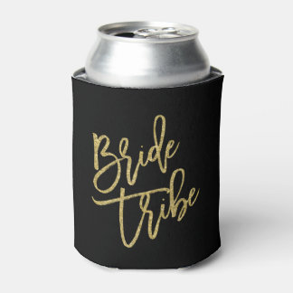 Bride Tribe Gold Glitter Script Can Cooler
