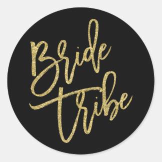 Bride Tribe Gold Glitter Script Classic Round Sticker