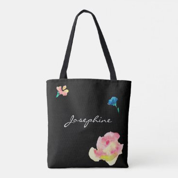 Beach Themed Bride tribe, personalized tote, black with flowers tote bag