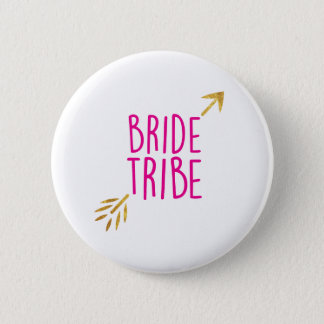 {Bride Tribe} Pink & Gold Pinback Button