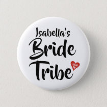 Bride Tribe Red Date Heart Personalised Button
