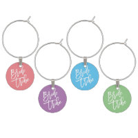 Bride Tribe Script Colorful Wine Charm