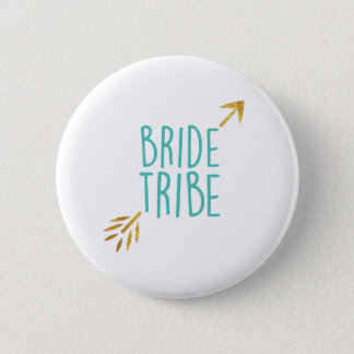 {Bride Tribe} Turquoise & Gold Button