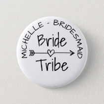 Bride Tribe wedding party favor round name buttons