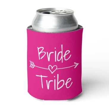 Bride Themed Bride Tribe wedding party neon pink can coolers