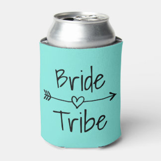 Bride Tribe wedding party turquoise can coolers Can Cooler