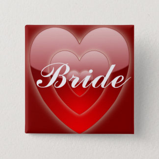 Bride - Triple Red Hearts Pinback Button