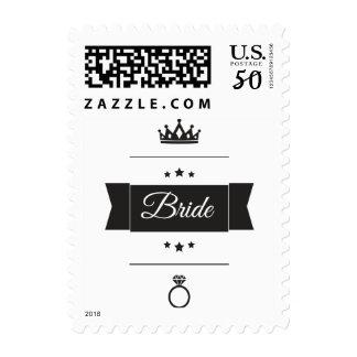 Bride typography design postage
