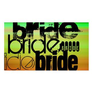 Bride; Vibrant Green, Orange, & Yellow Business Card