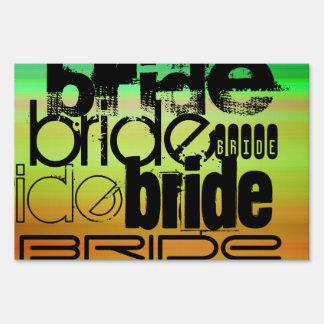 Bride; Vibrant Green, Orange, & Yellow Lawn Sign