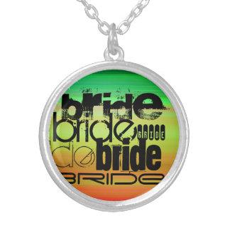 Bride; Vibrant Green, Orange, & Yellow Round Pendant Necklace