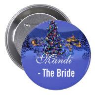 bride, vintage Christmas tree snowy night wedding Pinback   Button