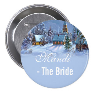 bride, vintage Christmas tree snowy world  wedding Buttons