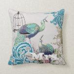 Bride Vintage Teal Damask Peacock Birdcage Vines Pillow