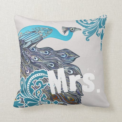 Bride Vintage Teal & Navy Peacock Damask Pillow