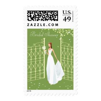 Bride Walking Through Ornate Gates Bridal Shower Stamp