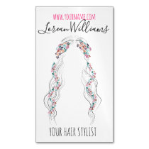 Bride Wavy hair floral wreath Hairstyling branding Business Card Magnet
