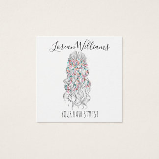 Bride Wavy hair floral wreath Hairstyling branding Square Business Card