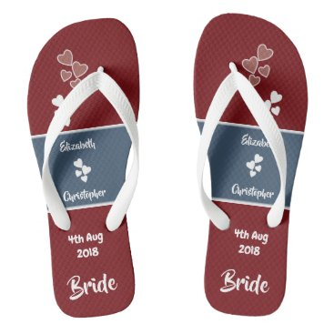 Beach Themed Bride Wedding deep red and blue Flip Flops