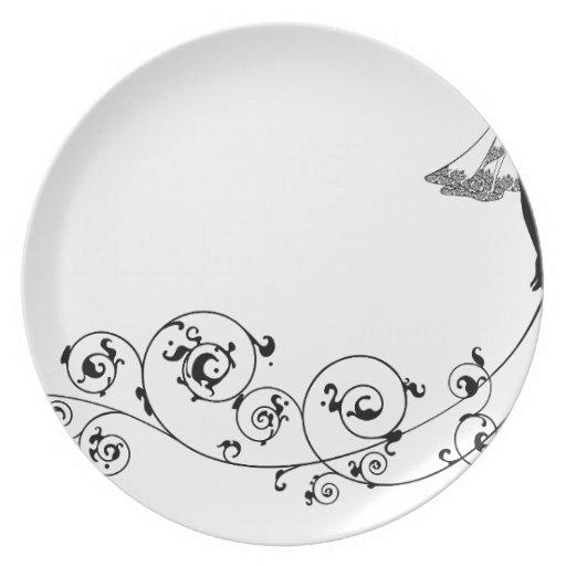 Bride wedding fashion silhouette dinner plates