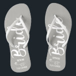 "Bride Wedding Favor Custom Name Monogram Grey Flip Flops<br><div class=""desc"">Surprise the Bride with these fun flip flops - personalize with her name or monogram and wedding date. The background color can easily be changed to match the wedding colors. Makes a perfect pre-wedding or wedding favor/gift - something she can wear during the wedding or on the dance floor. Modern...</div>"