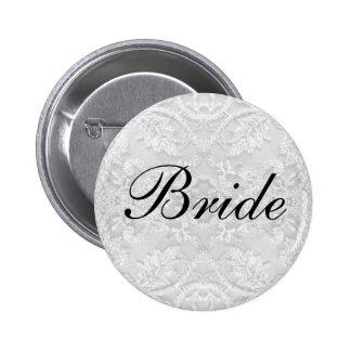 Bride Wedding lace white 2 Inch Round Button