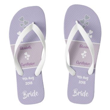Beach Themed Bride Wedding lavender and lilac Flip Flops