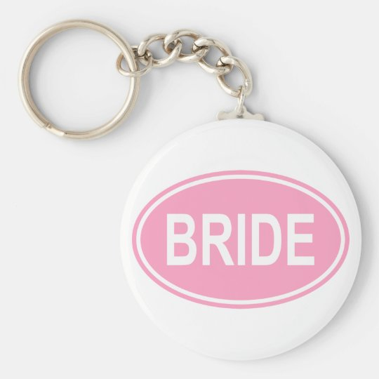 Bride Wedding Oval Pink Keychain