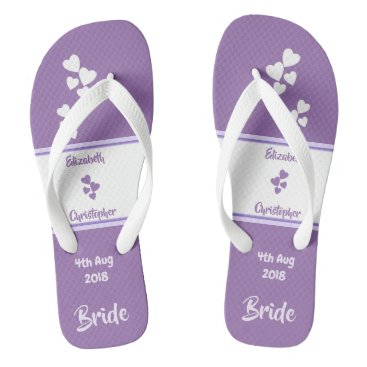 Beach Themed Bride Wedding purple and lilac Flip Flops