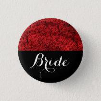 Bride Wedding Red Roses Pinback Button