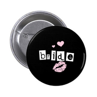 Bride White and Pink on Black Pinback Button