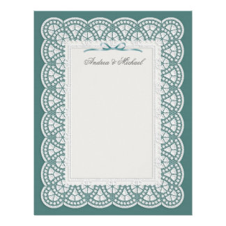 Bride white lace on teal Wedding Letterhead