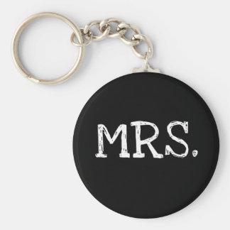 Bride White Text Mrs. Basic Round Button Keychain