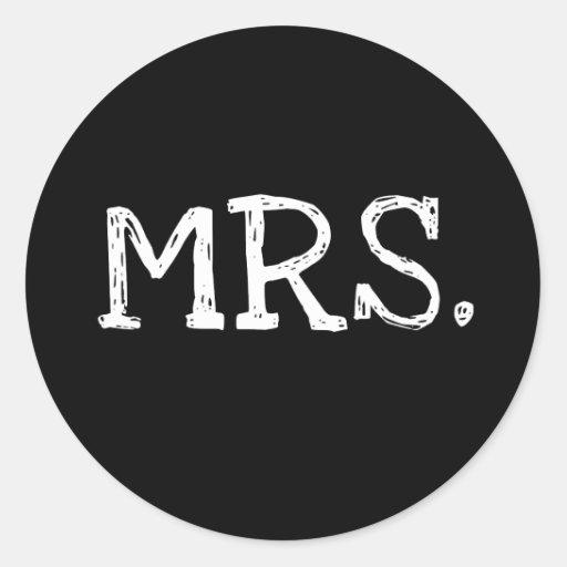 Bride White Text Mrs. Classic Round Sticker