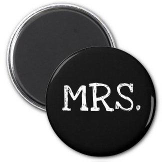 Bride White Text Mrs. 2 Inch Round Magnet