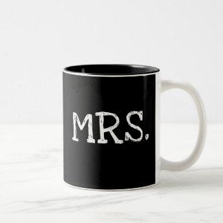 Bride White Text Mrs. Two-Tone Coffee Mug