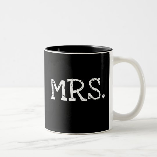 Bride White Text Mrs. Two-Tone Coffee Mug