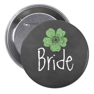 Bride Wild Green Roses Chalkboard Buttons