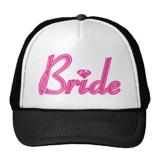 Bride with Bling - Pink Mesh Hat