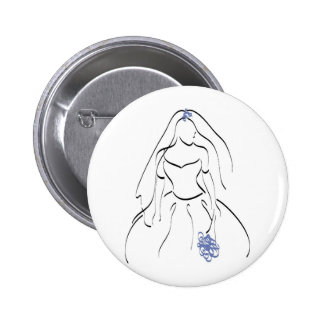 Bride With Blue Flowers 2 Inch Round Button