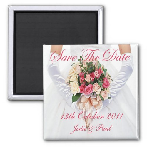 Bride With Bouquet - Save The Date magnet