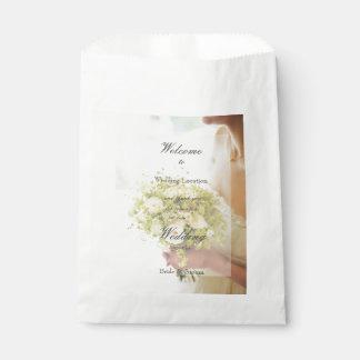 Bride with Flower Bouquet editable wedding Favor Bag
