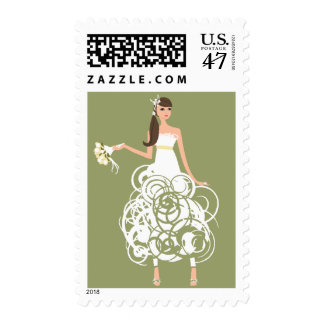 Bride with green background stamps