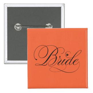Bride with heart 2 inch square button