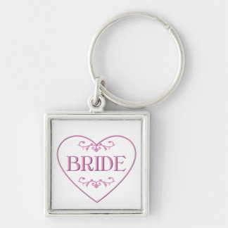 Bride (with heart and flourishes) Silver-Colored square keychain