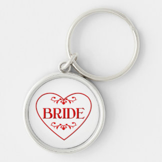 Bride (with heart and flourishes) Silver-Colored round keychain