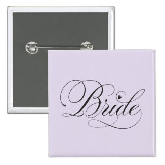 Bride with heart pinback button