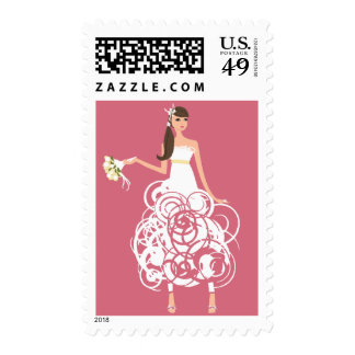 Bride with pink background stamps